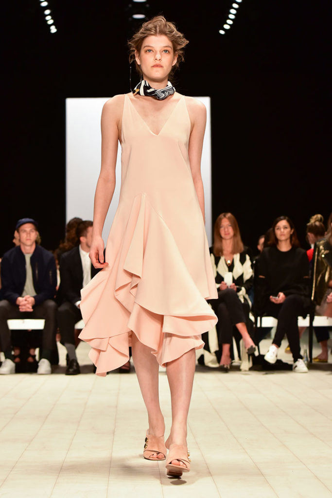 Pastel fashion fabric on the catwalk